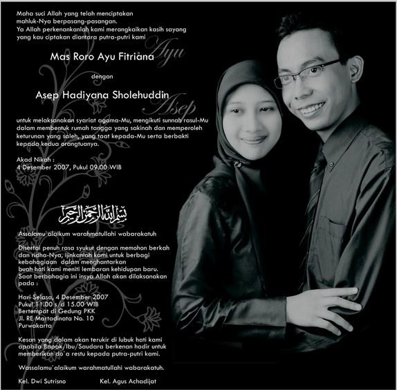 Kata Kata Mutiara Untuk kartu undangan Pernikahan Islami.